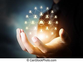 hand, nätverk, holdingen, social