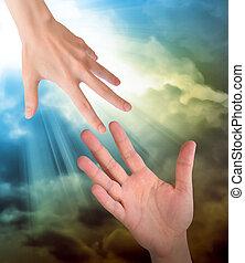 hand, nå för, säkerhet, hjälp, in, skyn