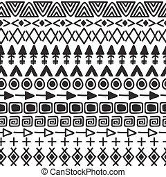 hand, oavgjord, etnisk, bakgrund., stam, seamless, mönster, med, klotter, elements., abstrakt, geometrisk, tryck