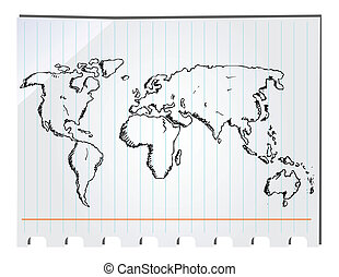 hand, oavgjord, världen kartlägger