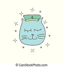 hand, oavgjord, vektor, illustration, av, rolig, sjöman, katt, in, a, mössa, vita, bakgrund