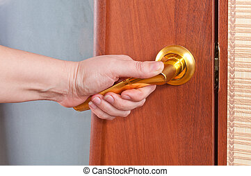 hand, och, den, dörr hantera