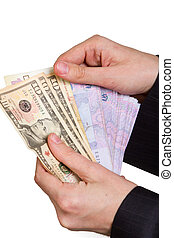 hand of a businessman holding a money