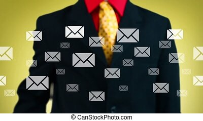 Hand of a businessman pressing mail