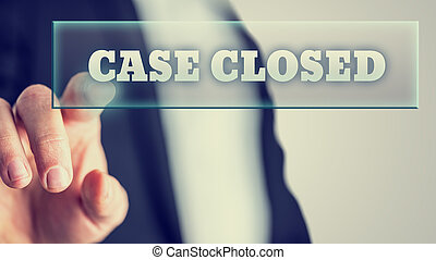 Hand of a lawyer activating a Case closed button on virtual screen.