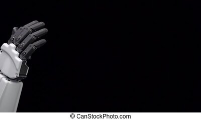 Hand of a man and a robot hand give five. Black background....