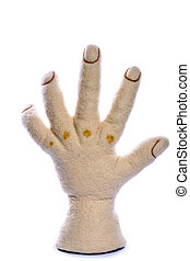 Hand of a man from felted wool on a white background