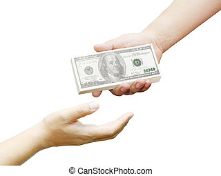 hand of a man holding 100 dollar bills
