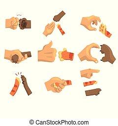 Hand of a man holding animals paw set, animal and human handshake vector Illustrations