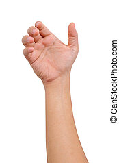Hand of a man to hold card, mobile phone, tablet PC