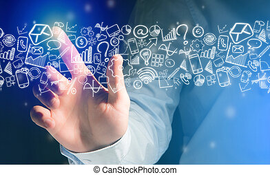 Hand of a man touching futuristic interface with business icons all around