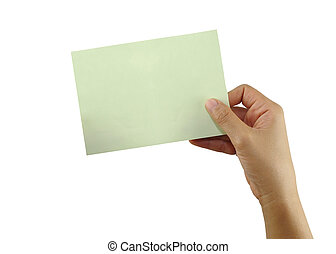 Hand of a people holding a empty green paper note isolated on white background.