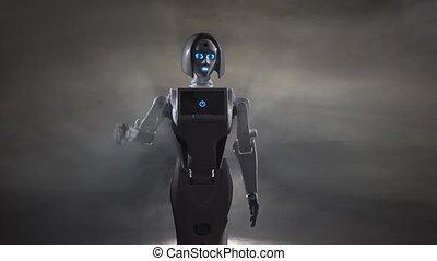 Hand of a robot waving. Black smoke background - Robot hand...