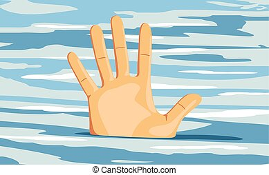 Hand of a sinking man. Hopelessness. Vector illustration