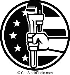 Hand of American Plumber Holding Pipe Wrench USA Flag Circle Retro Black and White