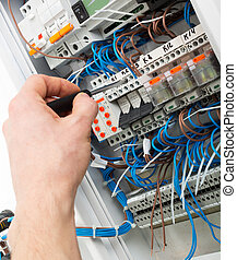 Hand of an electrician