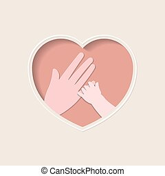 Hand of baby holding mother finger in heart shaped paper art