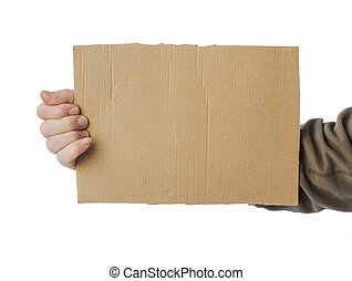 Hand of beggar with cardboard