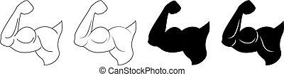 Hand of bodybuilder set logo. Sports emblem, icon.