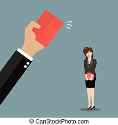 Hand of boss showing a red card to woman employee. Business...
