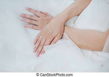 Hand of bride with wedding ring.