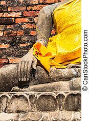 Hand of Buddha at Wat Yai Chaimongkol Temple Ayutthaya was...