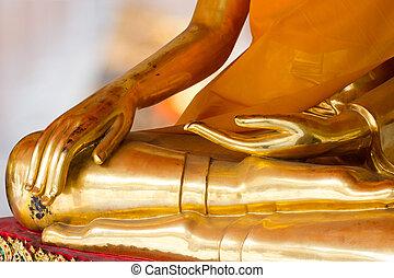Hand of Buddha - Buddha Golden Statue. Buddha Statue in...