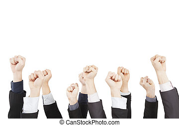hand of business group with fist gesture