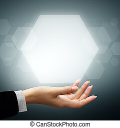 Hand of business man have Hexagon