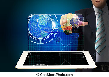 Hand of Business man touch virtual interface on tablet computer