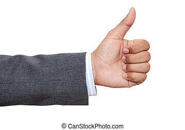 Hand of business man with thumb up