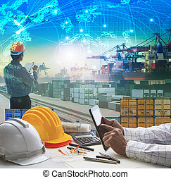 hand of business man working on working table in container dock use for logistic industry