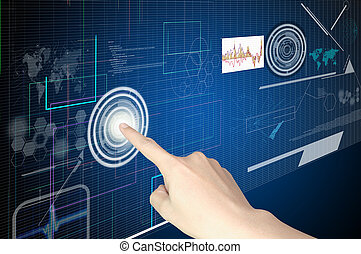 Hand of Business man working with virtual digital interface