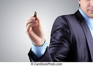 Hand of business man write