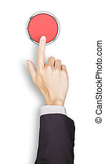 Hand of businessman clicking a red button, top view