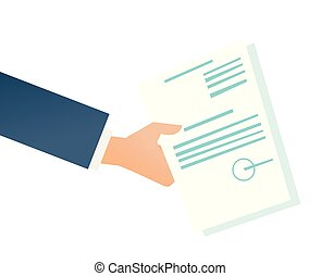 Hand of businessman holding a legal document.
