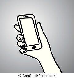 hand of businessman holding mobile phone vector illustration doodle sketch hand drawn with black lines isolated on gray background. Business concept.