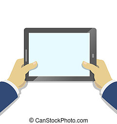 Hand of Businessman holding tablet pc with blank screen.