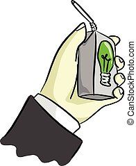 hand of businessman holding UHT milk of idea vector illustration sketch hand drawn with black lines isolated on white background