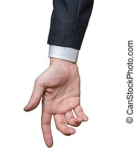 Hand of businessman isolated on white background.