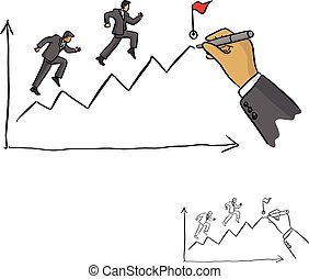 hand of businessman leader drawing a line leading to the goal vector illustration sketch doodle hand drawn with black lines isolated on white background