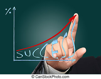 Hand of businessman show a business growth graph