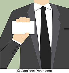 Hand of businessman showing blank card. Vector illustration