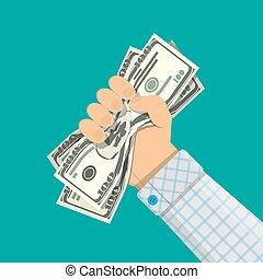 Hand of businessman squeezes dollar bill