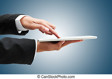 hand of businessman touch tablet, business concept