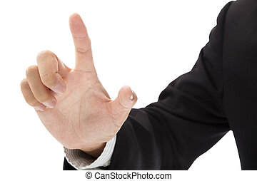 hand of businessman try to touching