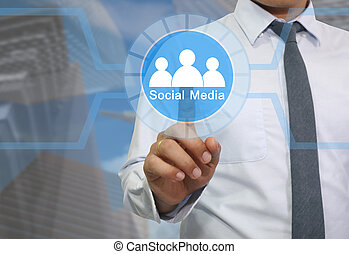 Hand of businessman use a finger to touch logo of Social network community.