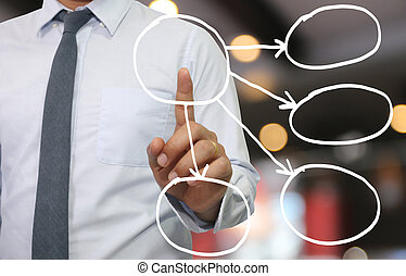 Hand of businessman use finger touch empty geometric shape system.