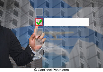 Hand of businessman use finger touch to button to select in Text box empty.