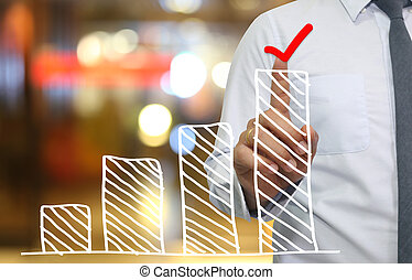 Hand of businessman use finger touch top bar graph in icon Check mark.